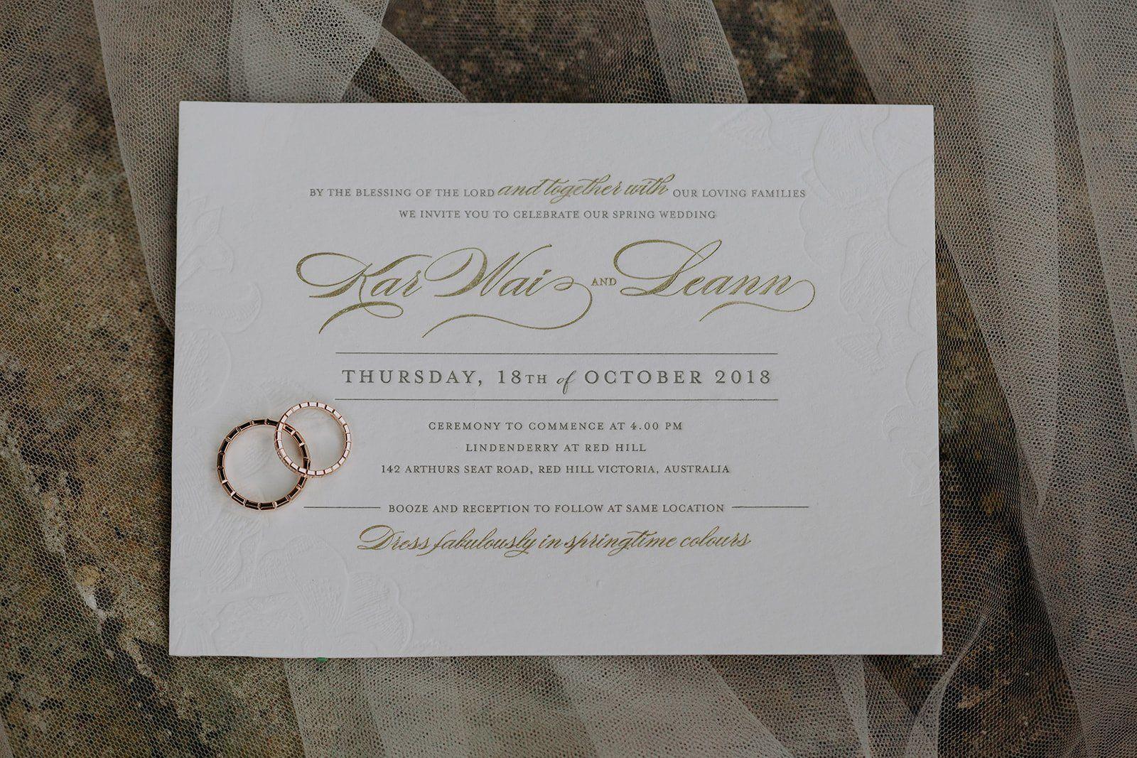 gold wedding invitations stationary