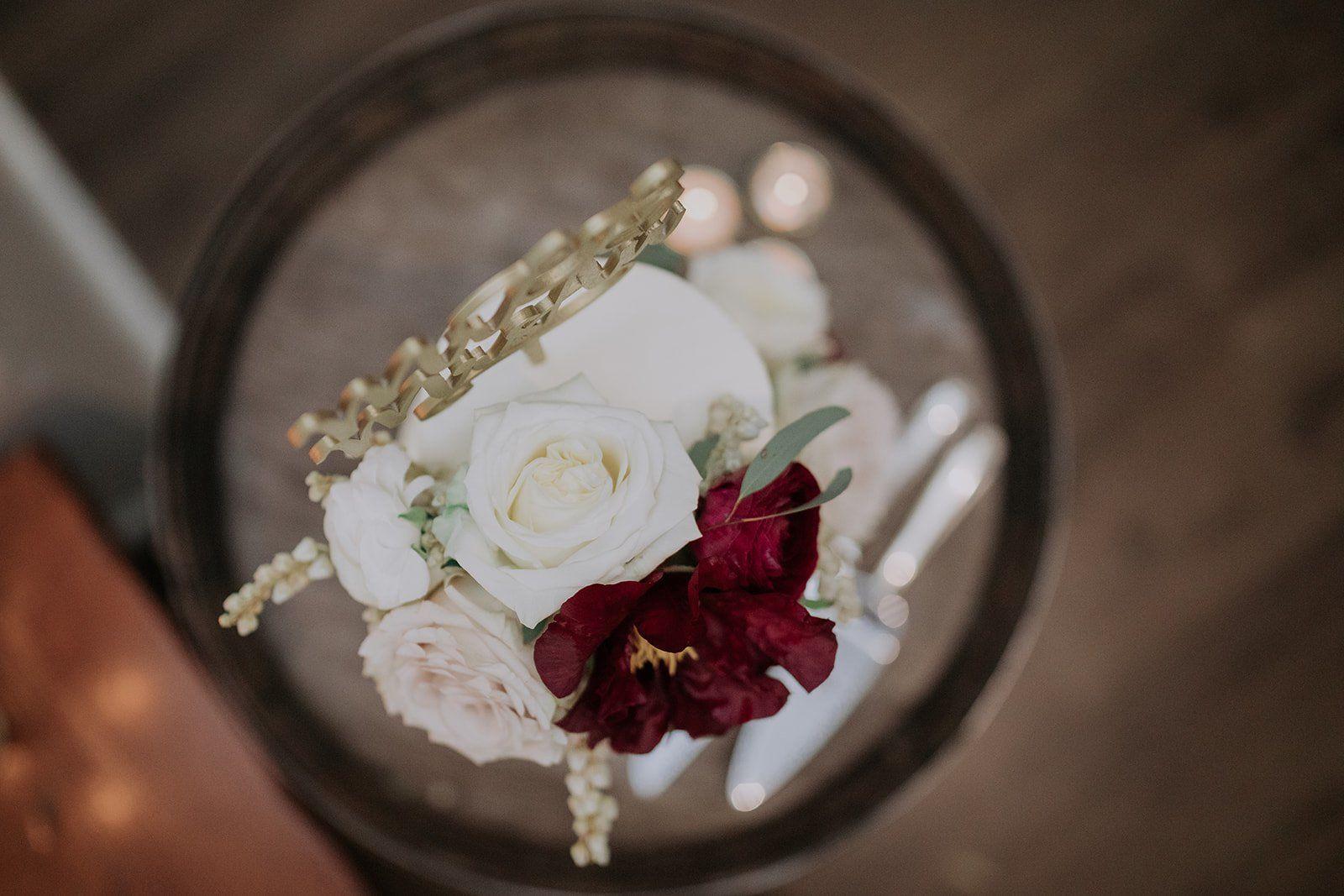 floral wedding drip cake