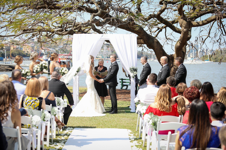 modern waterfront wedding