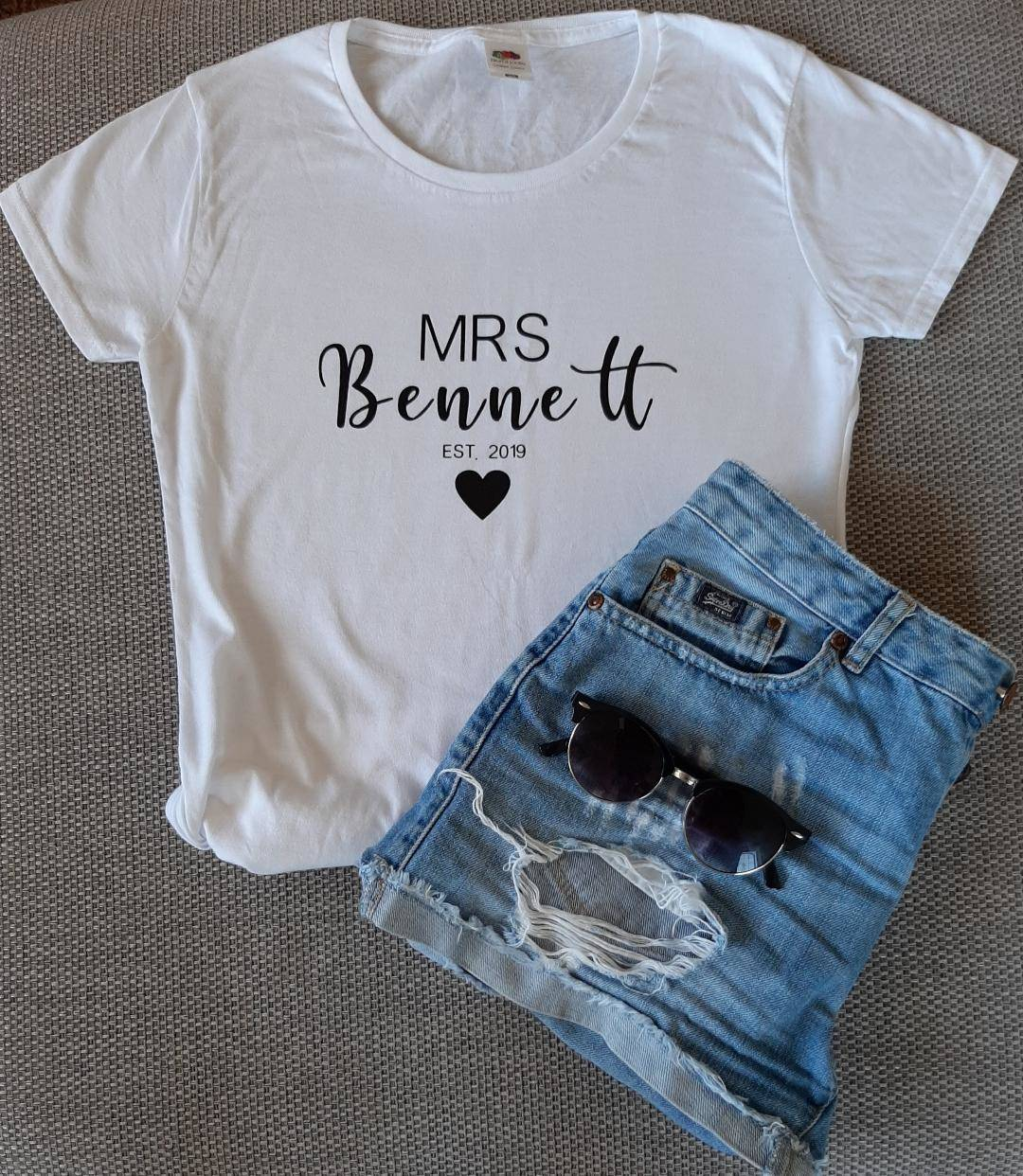 personalised wedding date t shirt