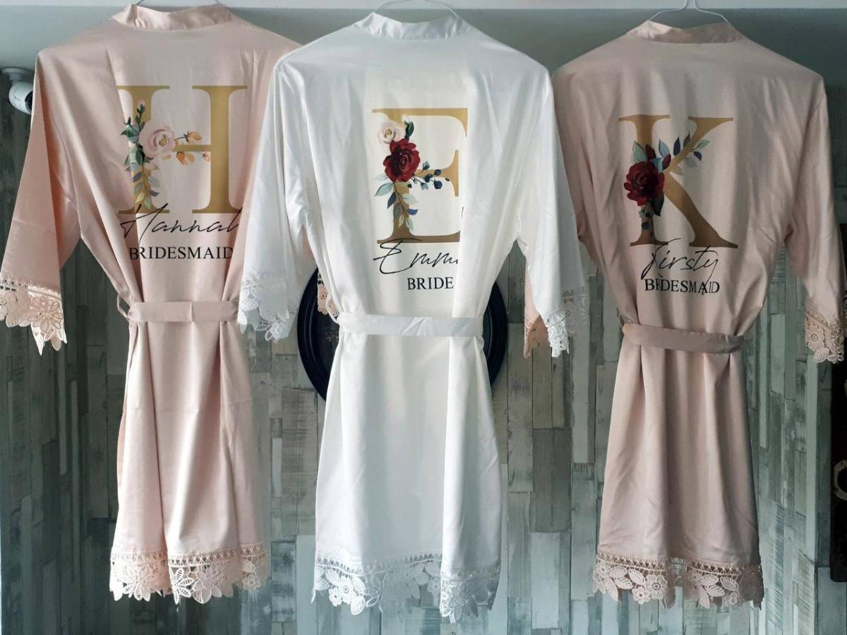 personalised satin bridesmaid robes