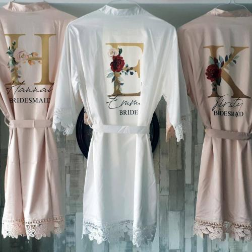 personalised satin bridesmaid robes