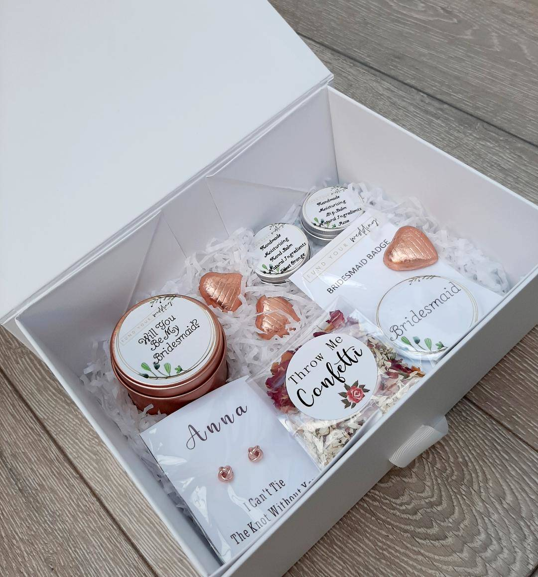 personalised bridesmaid gifts - brand ambassadors sample box