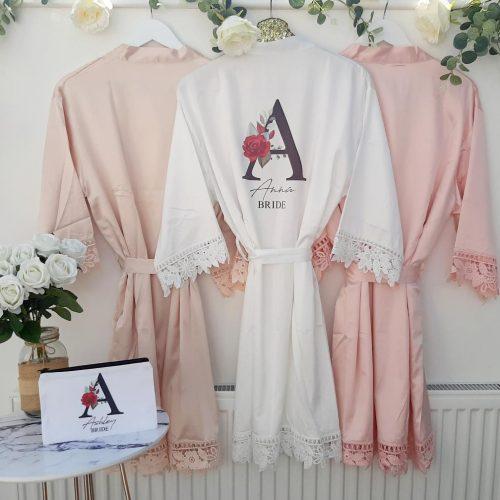 blush wedding robes