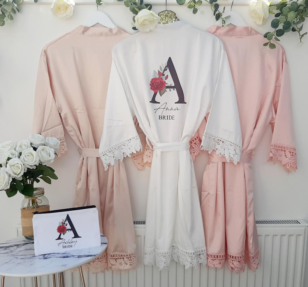 blush wedding robes