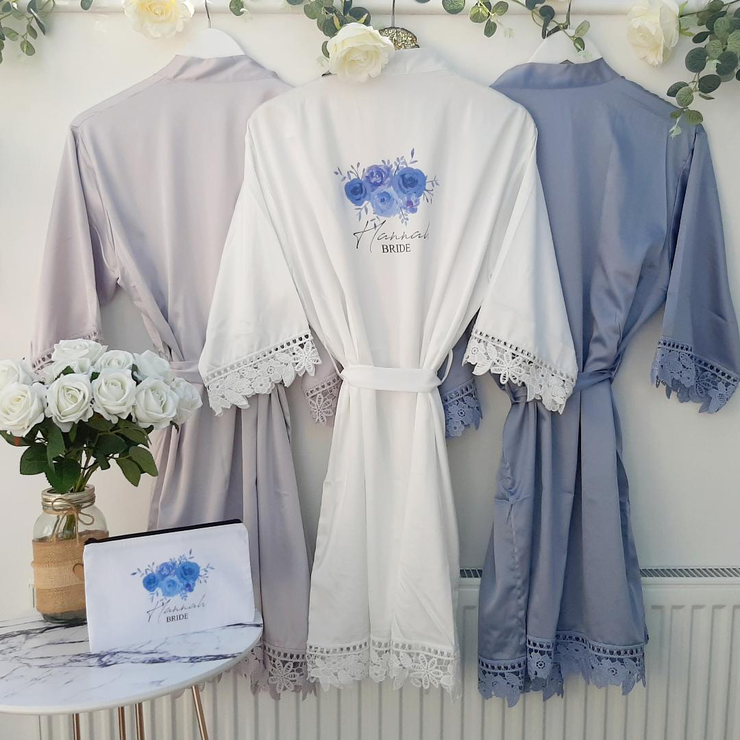 Dusty Blue Bridesmaid Robes Fund Your Wedding