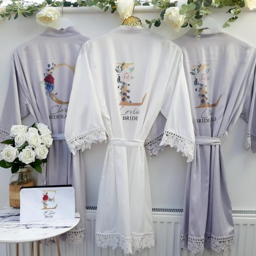 grey bridesmaid robes