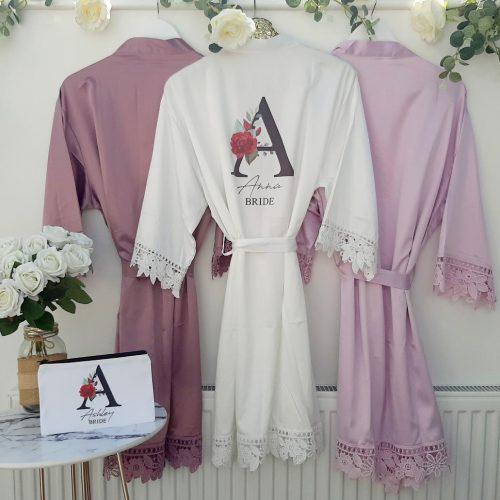 mauve wedding robes