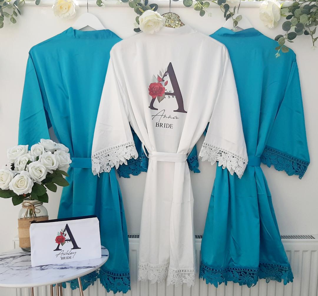 turquoise bridesmaid robes