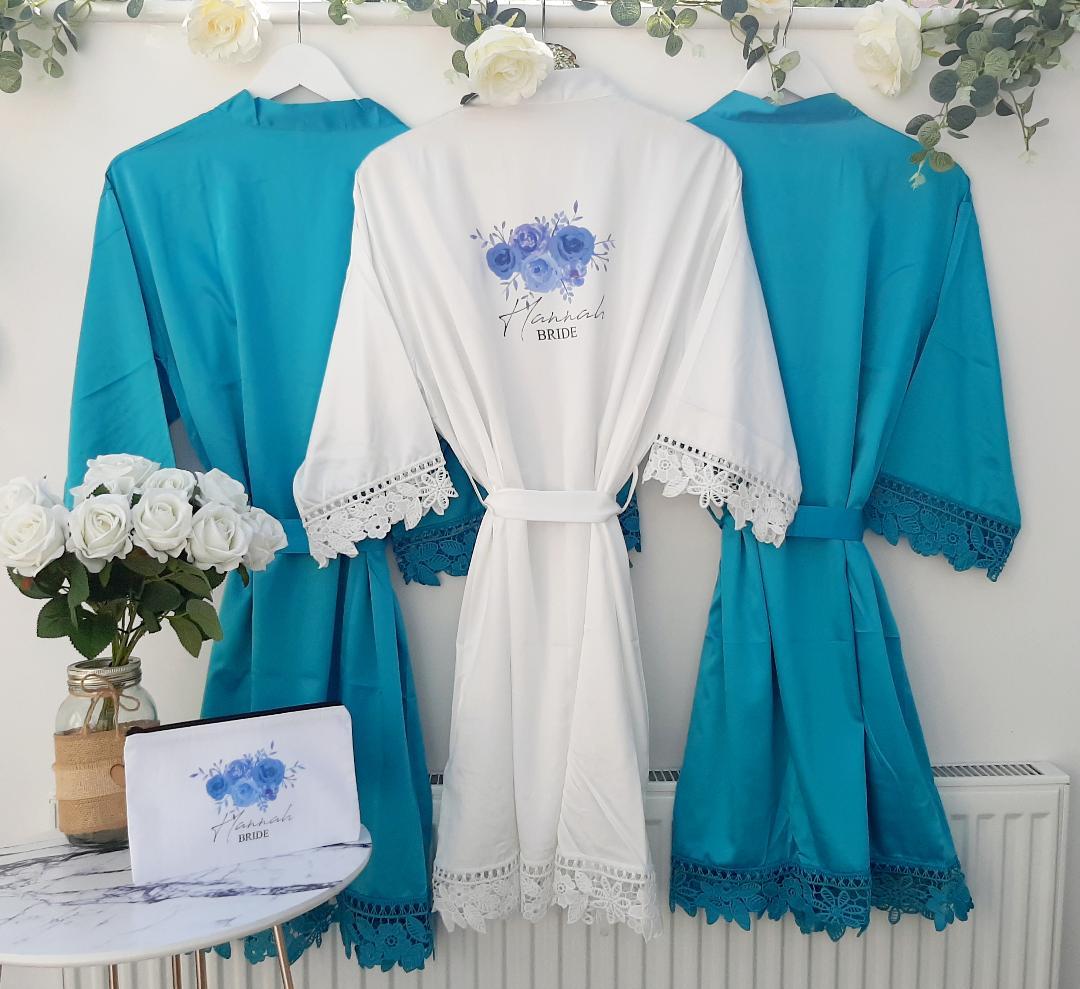 blue bridesmaid robes